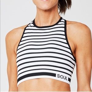 Black and white striped SoulCycle bra